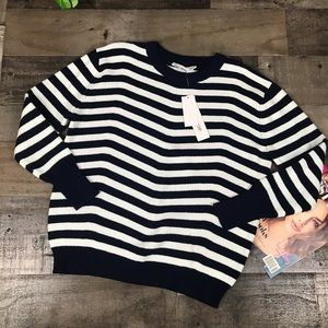 Workshop Striped Knit Sweater Blue/White Small